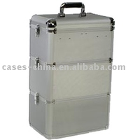 Aluminum portable make up trolley tiered cosmetic case