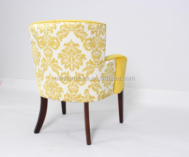 French furniture solid wood armchair hotel project yellow velvet dining chair <strong>antique</strong> fabric chair