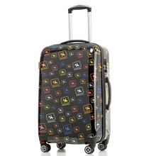 abs pc pattern printed hard shell travel trolley luggage suitcase 4 wheels