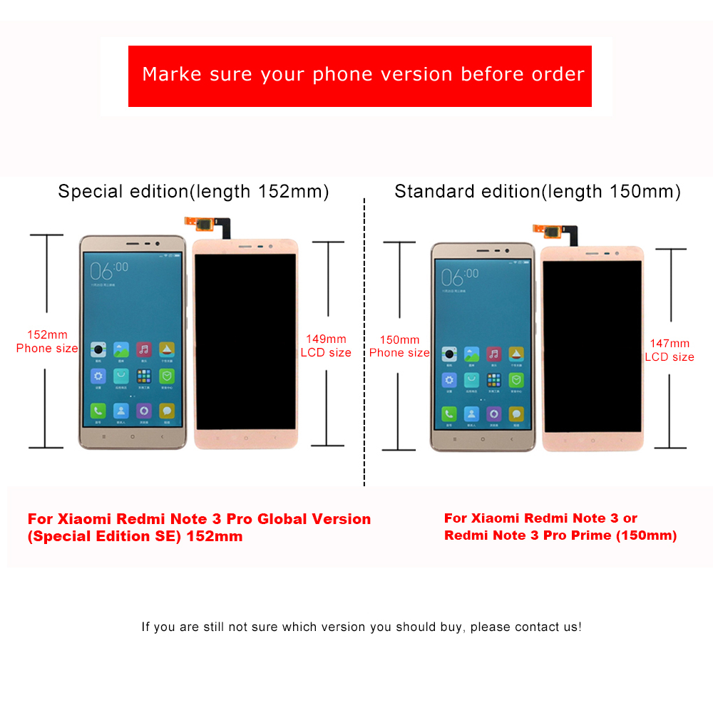 For Xiaomi Redmi Note 3 Prime Pro Lcd Display Touch Screen 1 15 16 14a Whole Package Warranty