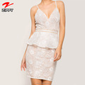 OEM V neck White Lace Bodycon Mini Dress For Summer Sexy Lace Dress With Eyelet