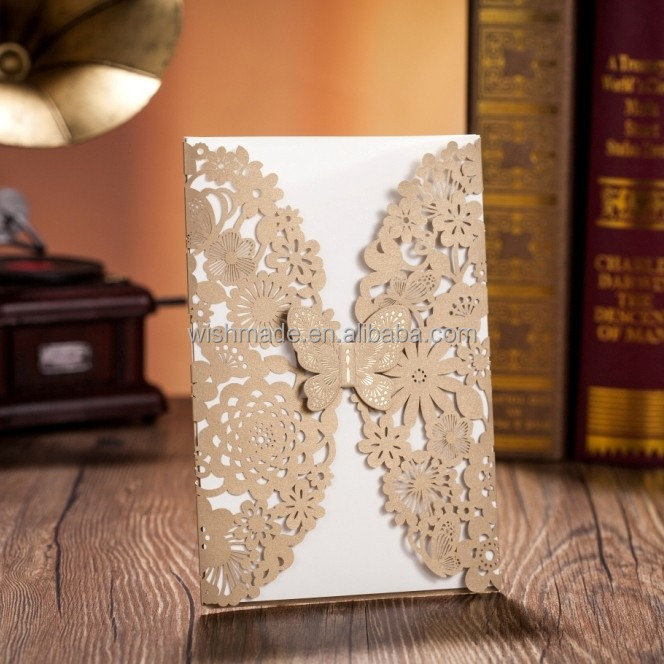 cheap price wholesale laser cut wedding invitation card CW5009