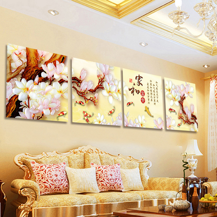Chinese Canvas White Flower Handmade Oil Painting Wall Pictures For Living Room