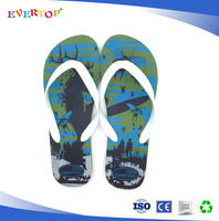 2016 china wholesale hotel and beach use dk green one dollar flip flops eva slipper