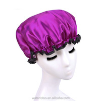 yiwu waterlotus commodity factory red plastic shower cap for lady