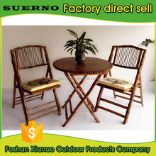 modern restaurant dining furniture nature rattan bamboo table and folding chair set price