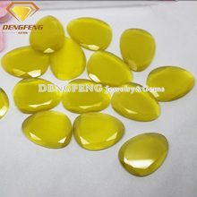China wholesale gemstone yellow cats eye stone for costume jewelry