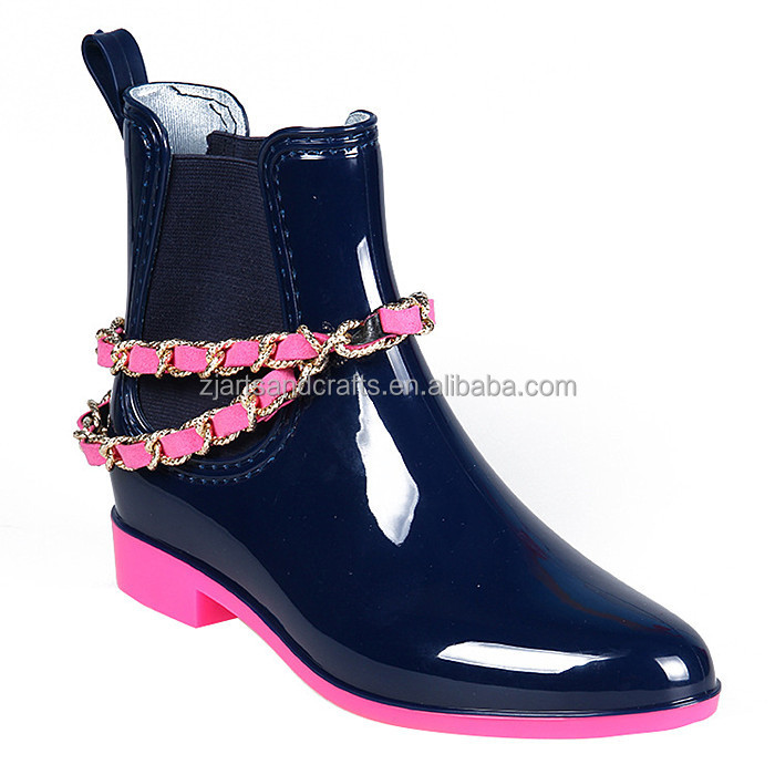 Hot sale fashion women pvc rain boot plastic rain shoes