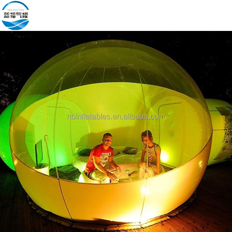 Outdoor single tunnel inflatable bubble tent camping transparent bubble tent for sale