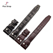 Aviator crocodile skin leather watch strap no buckle waterproof for IWC Big Pilot in black brown 20 21 22mm wrist band belt