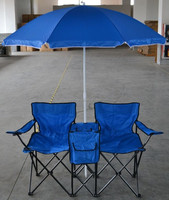Double folding chair with cooler/2 person folding Chair with Umbrella and Table