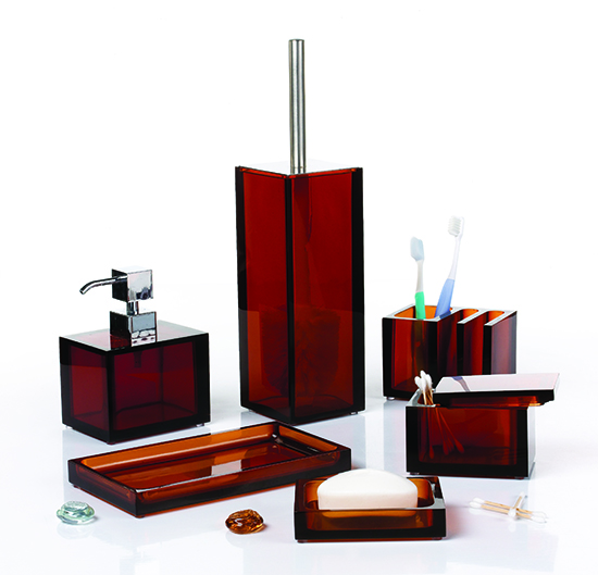 8pcs New Arrival Hand Painted Golden Textual Effect Black Resin Luxury Bathroom Set