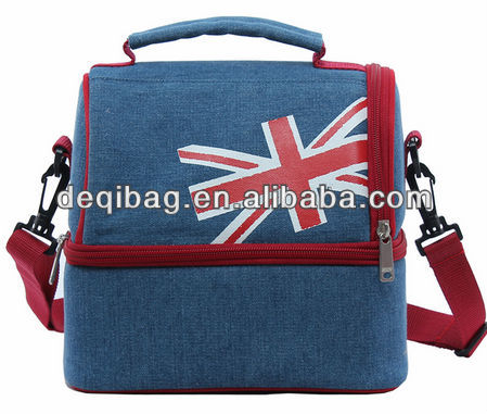 fashion flag printing double layer cooler bag insulated bag lunch bag with shoulder strap