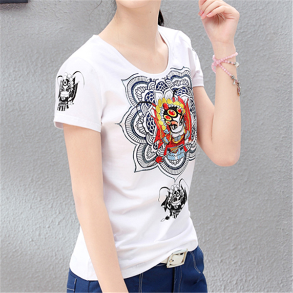 Chinese style ladies fitted screen printing t shirt custom for Fitted t shirt printing
