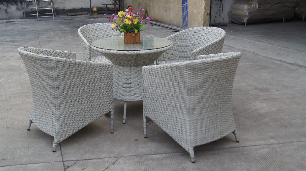 WF2121-16 patio rattan dining table and chair furniture