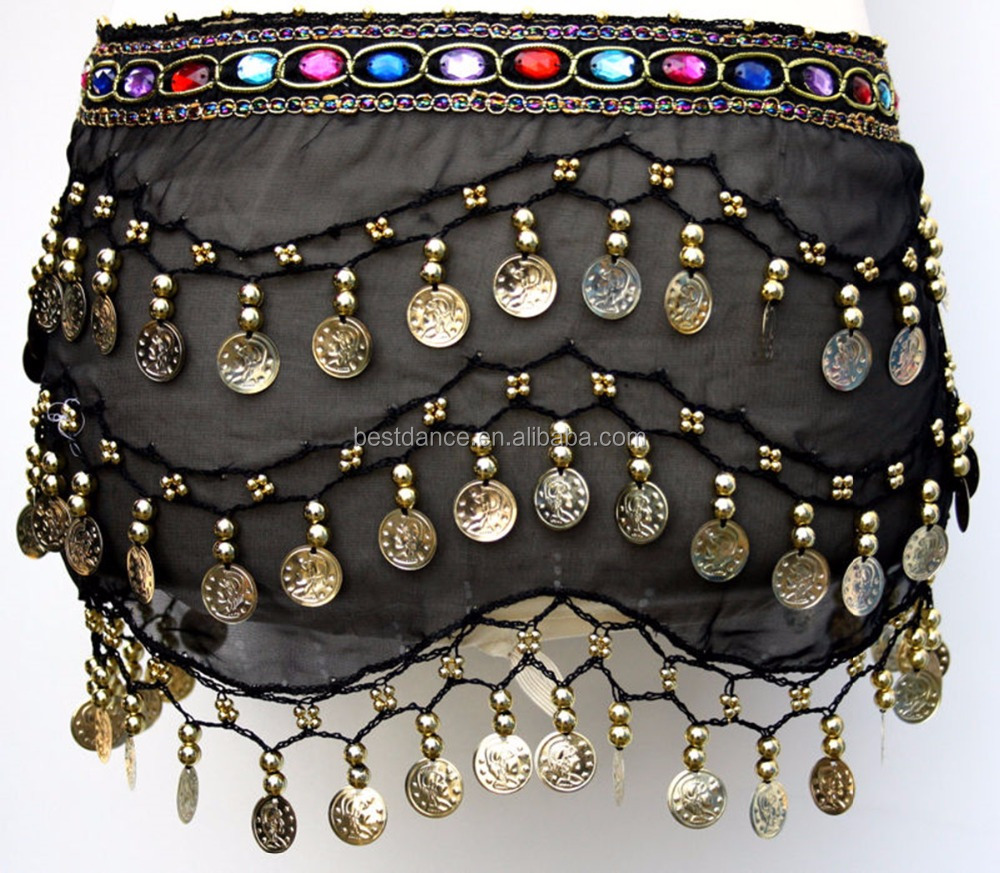 BestDance Belly Dance Hip Skirt Scarf Wrap Belt Hipscarf with Gold/Silver Coins