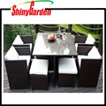 9 Piece Cheap Outdoor PE Wicker Rattan Gardern Furniture Dining Table Patio Cube Sets