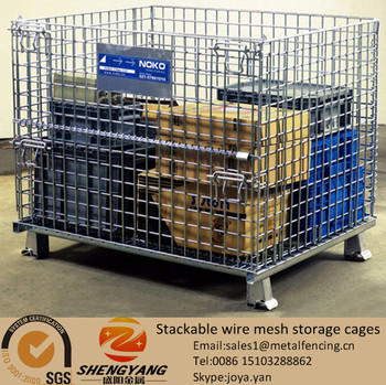 Easy assembled large rectangular 1200x1000x890mm warehouse used stillage containers 4 layers stackable wire mesh storage cages