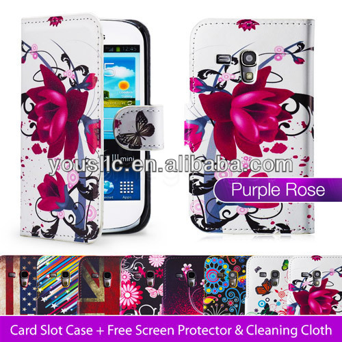Pu leather stand wallet mobile phone case cover for samsung galaxy s3 mini i8190