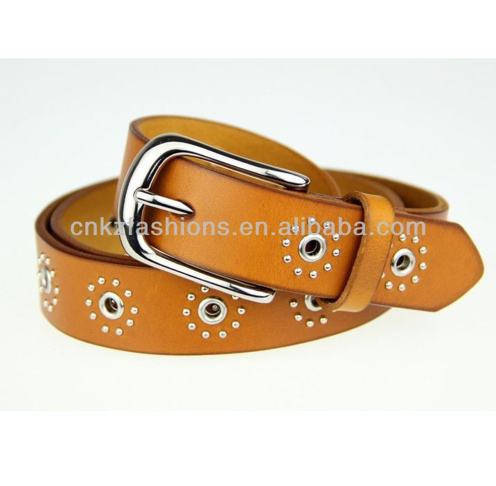 flower shape cow leather studded lady belt making supplies