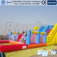 BIGGORS Kids Game Water Bounce Inflatable Slip And Slide