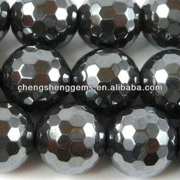 12mm natural round faceted magnetic hematite loose gems beads