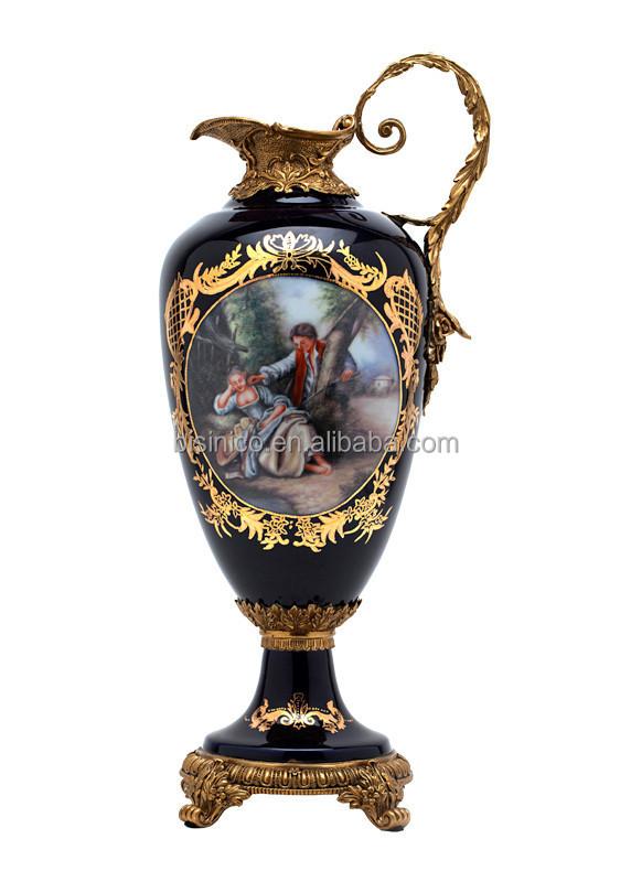 European Palace Noble Porcelain Flower Vase With Brass