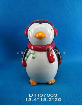 2015 Christmas decoration ceramic penguin storage jar