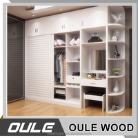 MDF Solid Wood Wardrobe With Dressing Table Bedroom Furniture