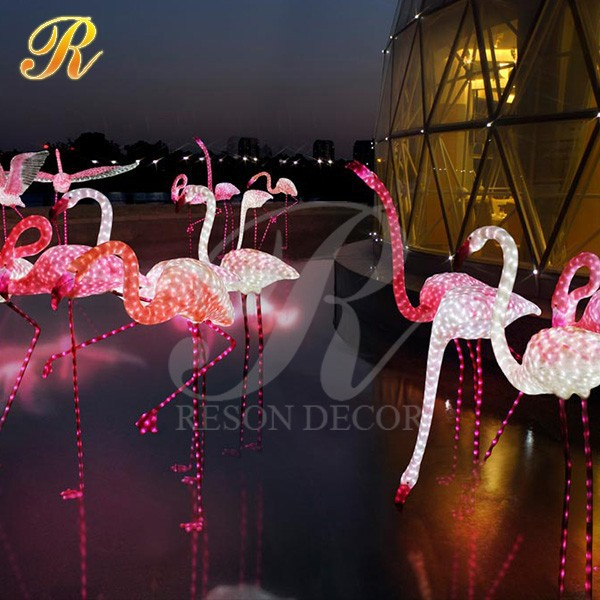 LED lighted garden decor pink flamingo