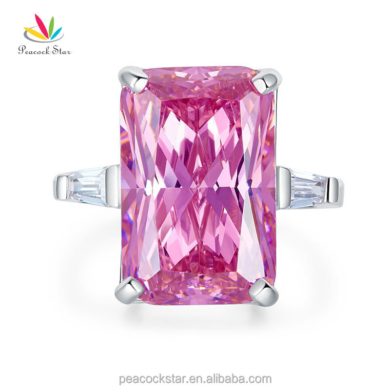 Pink Created Diamante Stone Solid 925 Sterling Silver Ring Party Luxury Jewelry Accept DropShipping