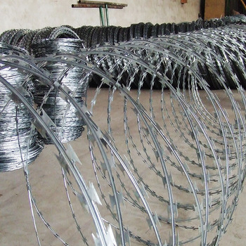 diamond crossed razor barbed wire fence