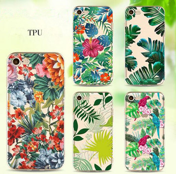 Fashionable Painting Tropical Rainforst Plants Green Leaf Art printing Soft tpu phone case cover for iPhone 7/7 Plus