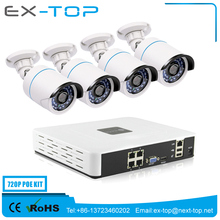 Home Security Network CCTV System H.264 ONVIF P2P IP Camera 4CH 720p Pixel Cctv Camera Poe Nvr Kit
