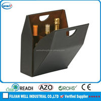 luxury faux leather cardboard leather wine carrier box for father's day gift