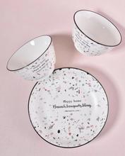 Porcelain Terrazzo Dinner Sets Nature Ceramic Dinner <strong>Plate</strong> and Bowl Set