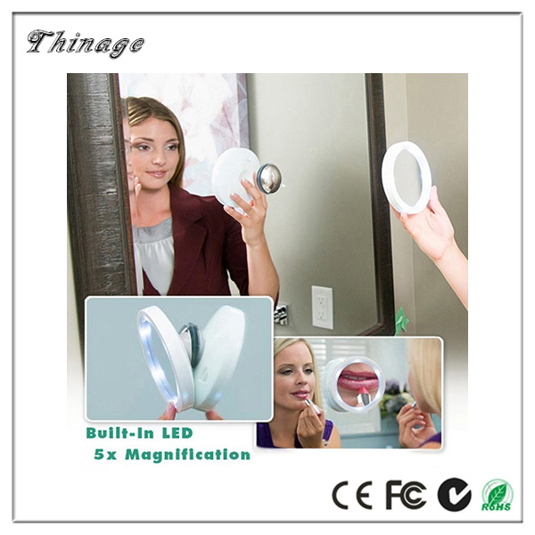New Design As Seen On Tv Mirror Led Light Cosmetic 8X Magnifying Glass 360 Swivel Brite