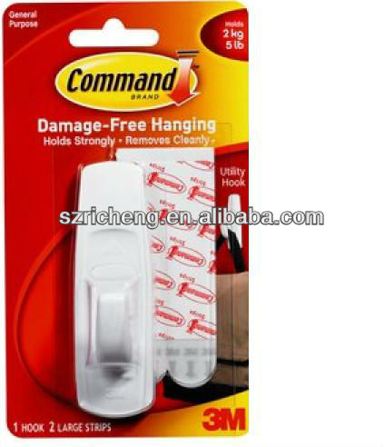 Plastic, White 17003 3M Command Removable Adhesive Utility wall wholesale stick Hook, 5-lb Capacity