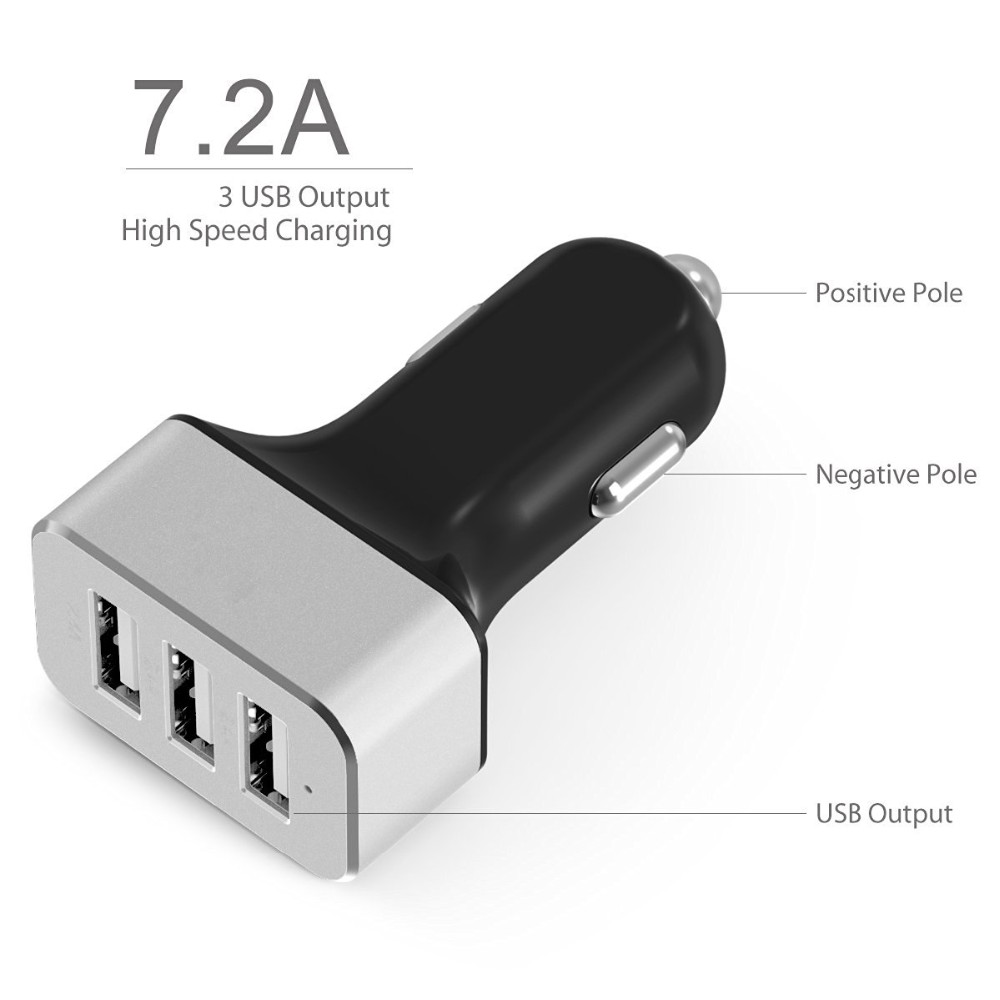 Trade assurance smart new car charger with 3 usb ports 7.2A output