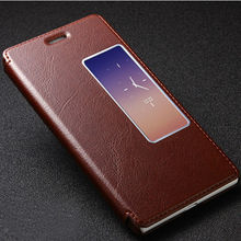Genuine Leather Case For Huawei Ascend P8 Wallet Case With View Window , For Huawei P8 cover