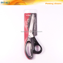 "S21003P1 CE certificated 9"" Plastic handle pinking zig zag scissors"