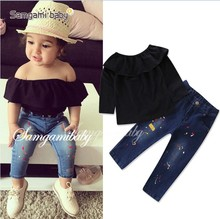 European fashion kids clothing sets fall boutique black off shoulder ruffle top+jeans pants 2pcs children girls clothing sets
