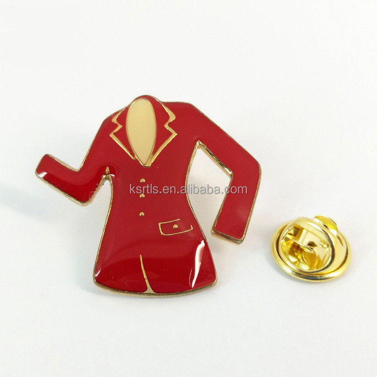 Custom women dress enamel pin coat pin metal lapel pin with resin surface