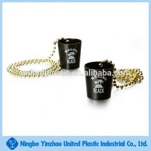 Mini promotional plastic unbreakable wine shot glass with bead necklace