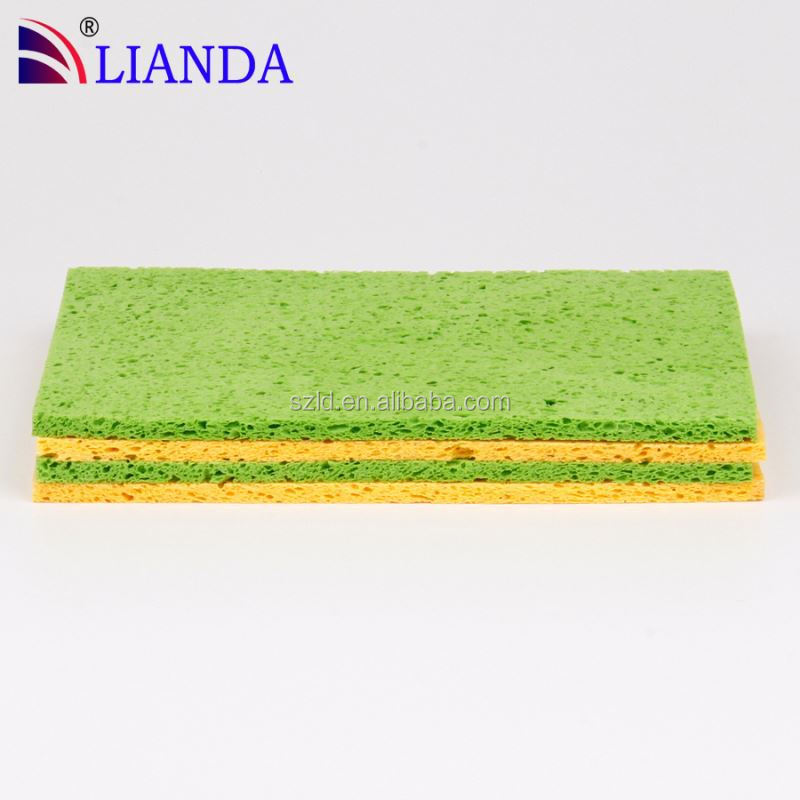 natural cleaning wipe cellulose sponge/ wood pulp cleaning material foam sponge