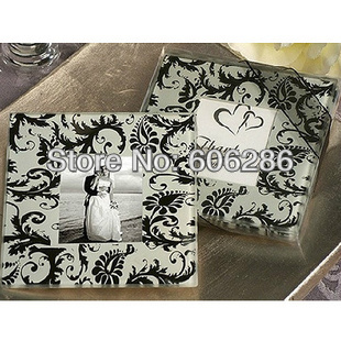 Ywbeyond wedding return gift party favors 2pcs/set love theme knotweed flowers photo frame glass coaster