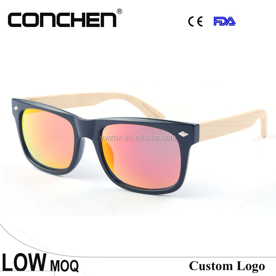 Red mirror lens bamboo sunglasses wholesale