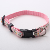 Pink nylon webbing dog collars with woven label
