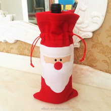 cheap hot sale Santa felt Christmas Red Wine Bottle Cover , Christmas Dinner Decoration, Wine Bottle Jacket Bag
