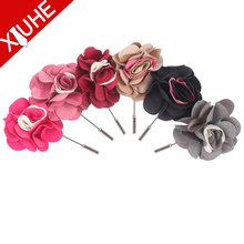Decorative artificial colorful fabric flower brooch